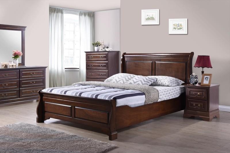 RoyalOak Sydney Solid Wood Queen Bed(Finish Color - Cappuccino)
