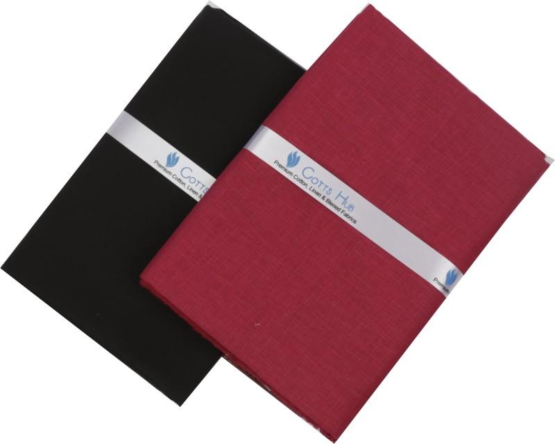 Cotts Hub Cotton Blend Solid Shirt & Trouser Fabric(Semi Stitched)