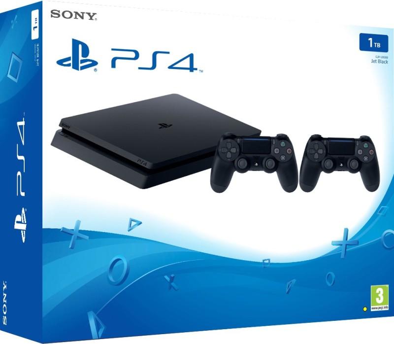 Sony PlayStation 4 (PS4) Slim 1 TB(Jet Black, Additional DualShock 4 Controller)