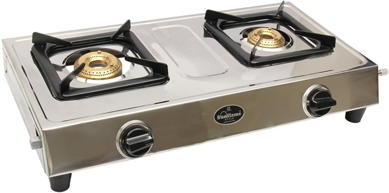 Sun Flame sunflame style dlx 2b ss manual gas stove Stainless Steel Manual Gas Stove(2 Burners)