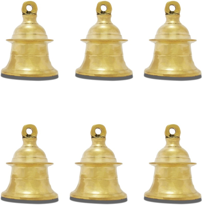 Lotusfeet Spirituality LotusFeet Traditional Brass Kavadi Bell/Traditional Puja Room Hanging Bell/Pooja Bell Item - Set of Six Brass Pooja Bell(Yellow, Pack of 6)