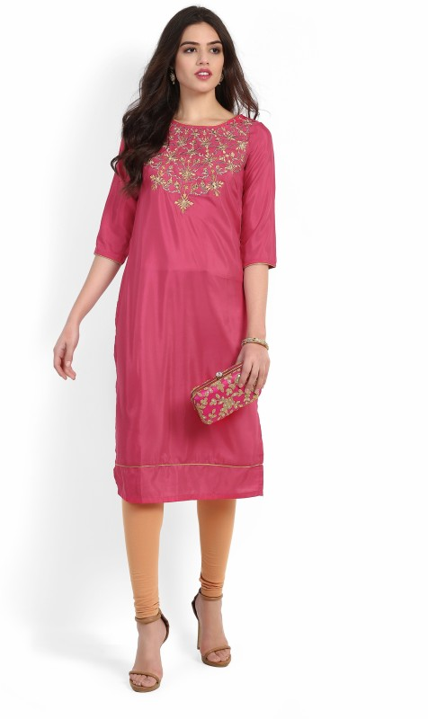 Aurelia Women's Embroidered Straight Kurta(Pink)