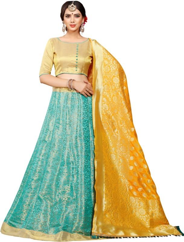 Greenvilla Designs Embellished Semi Stitched Ghagra, Choli, Dupatta Set(Gold)