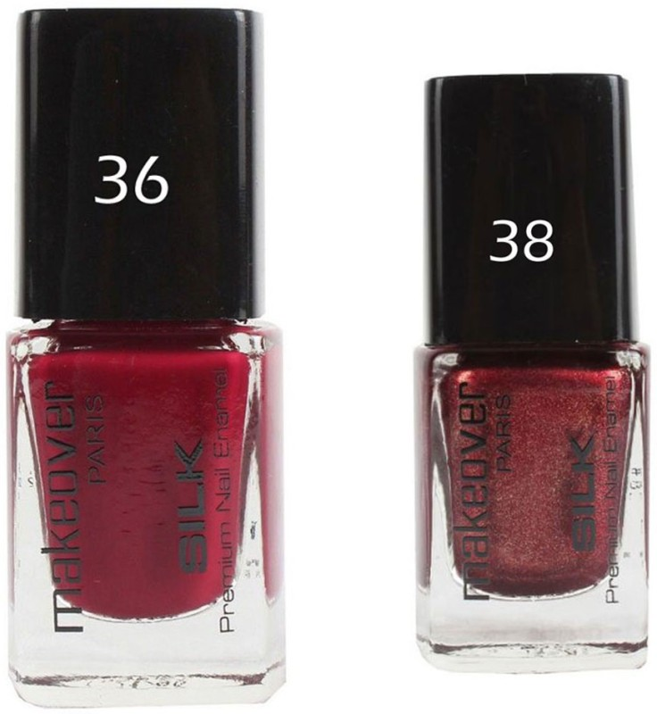 Makeover Professional Nail Paint Combo Dark-Magneta-36 , Sparking-Wine-Red-38 (9 ml, Pack of 2) Multi(9 ml, Pack of 2)