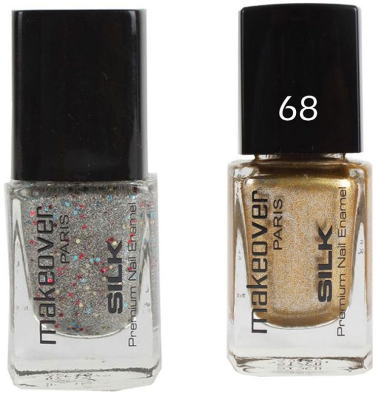 Makeover Professional Nail Paint Combo Sparking-Silver-33 , Sparking-Golden-68 (9 ml, Pack of 2) Multi(9 ml, Pack of 2)