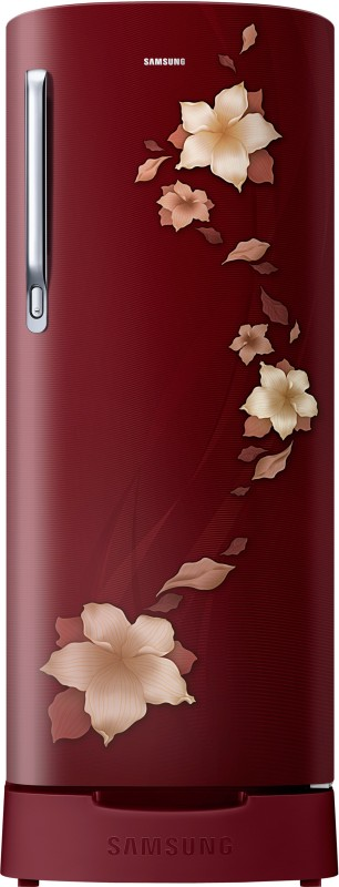 Samsung 192 L Direct Cool Single Door 2 Star Refrigerator with Base Drawer(Star Flower Red, RR19N1822R2-HL/ RR19R2822R2-NL)