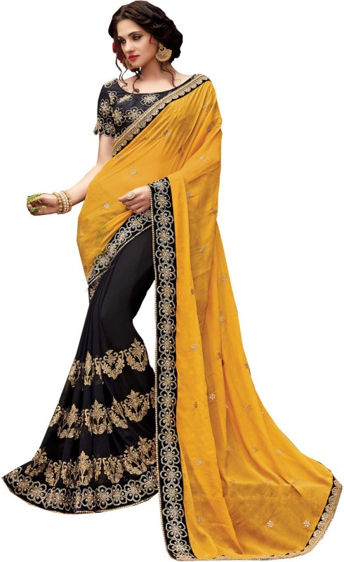 Patang International Embroidered Fashion Net Saree(Yellow)