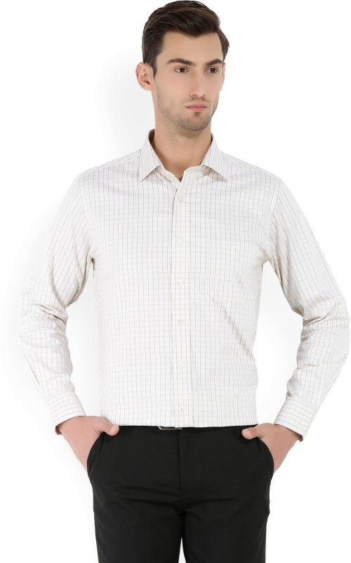 Arrow Mens Checkered Formal Beige Shirt