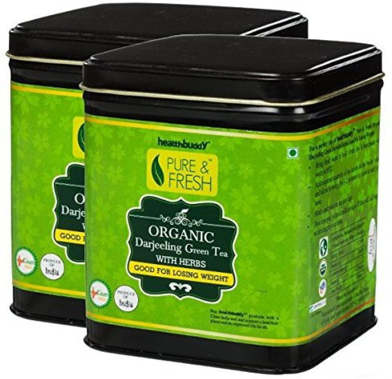 Healthbuddy Organic Green Tea With Herbs (Weight Loss) 2 Packs of 100 gm Each Green Tea(200 g, Box)