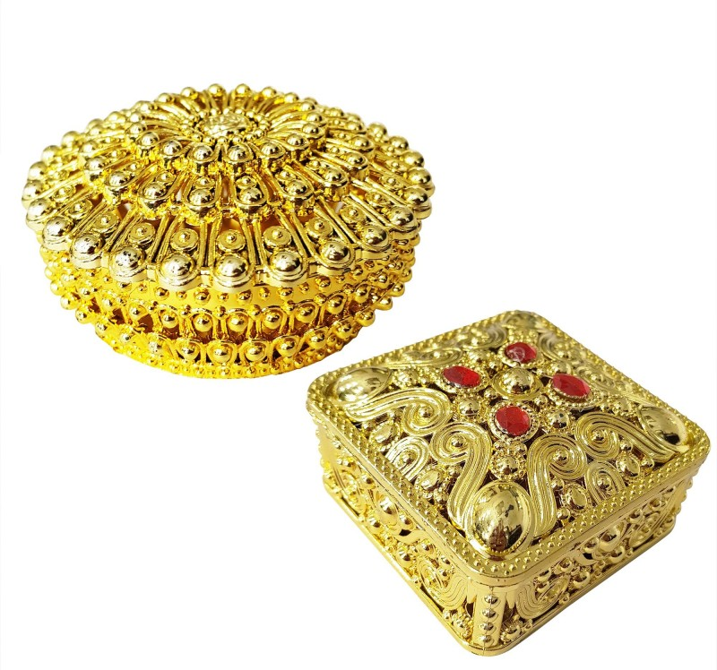 Fully Wedding Gifts for Bride | Home & travel Use Dry Fruits Bowls | Jewellery Box | Multi Purpose Box Container Vanity Box(Golden)