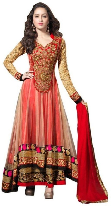 D Fashion Net Embroidered Semi-stitched Salwar Suit Dupatta Material