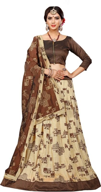 Greenvilla Designs Embellished Semi Stitched Ghagra, Choli, Dupatta Set(Brown)