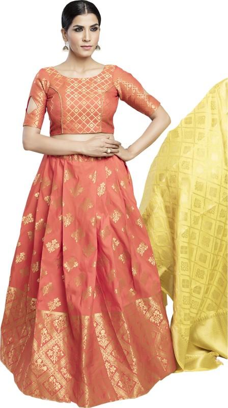 KMOZI Embellished Semi Stitched Lehenga, Choli and Dupatta Set(Orange)
