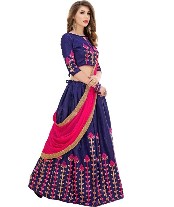 21st Fashion Embroidered Semi Stitched Lehenga, Choli and Dupatta Set(Blue)