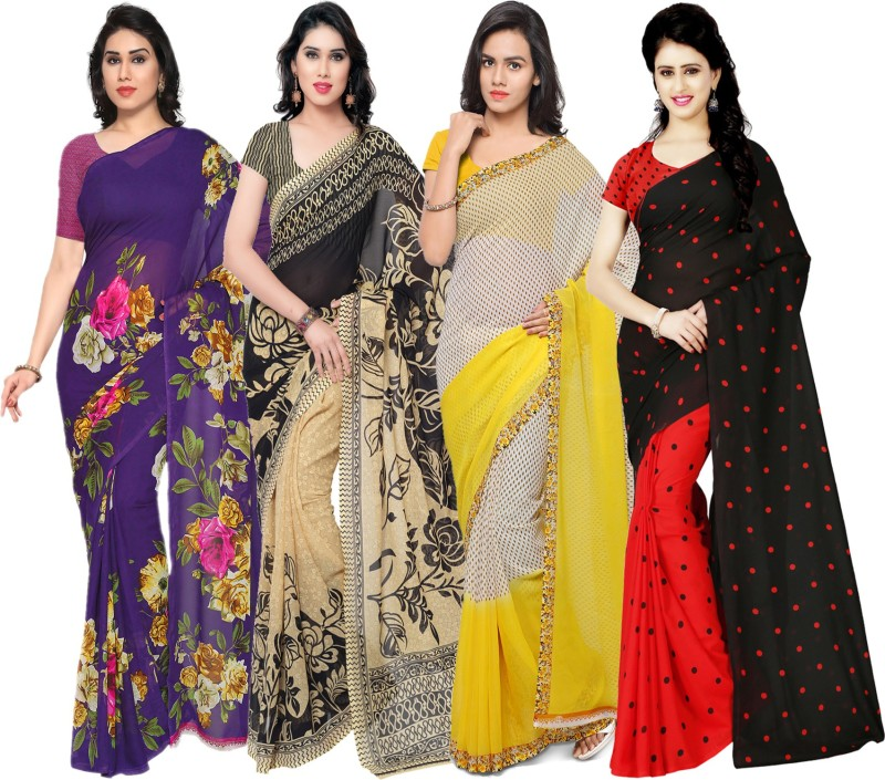 Anand Sarees Printed Daily Wear Faux Georgette Saree(Pack of 4, Multicolor)