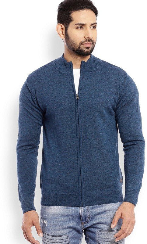 Raymond Solid High Neck Casual Mens Blue Sweater