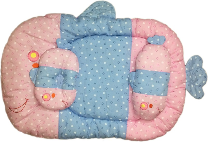 Babysid Collections Fish Shaped Bed and 2 Pillows with Rattle Sound from One Pillow Size : 91 x 64 cm Thickness : 7 cm Bed for Babies Crib(Cotton, Blue, Pink)