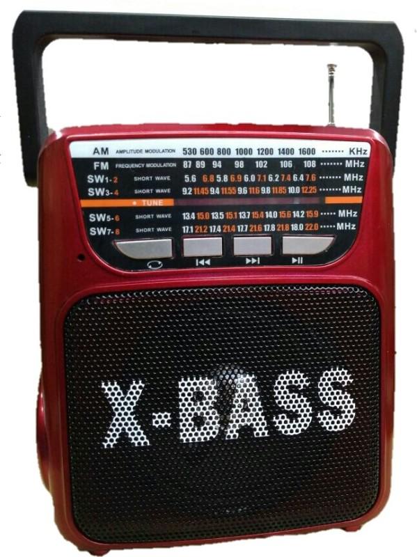 CRETO latest high sound 8 band radio supports FM, AM, SW, Memory card, usb pendrive, aux FM Radio(Red)