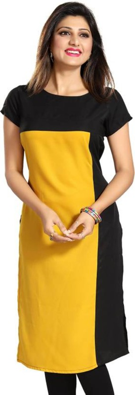 PAVITRA Women's Printed Straight Kurta(Yellow, Black)