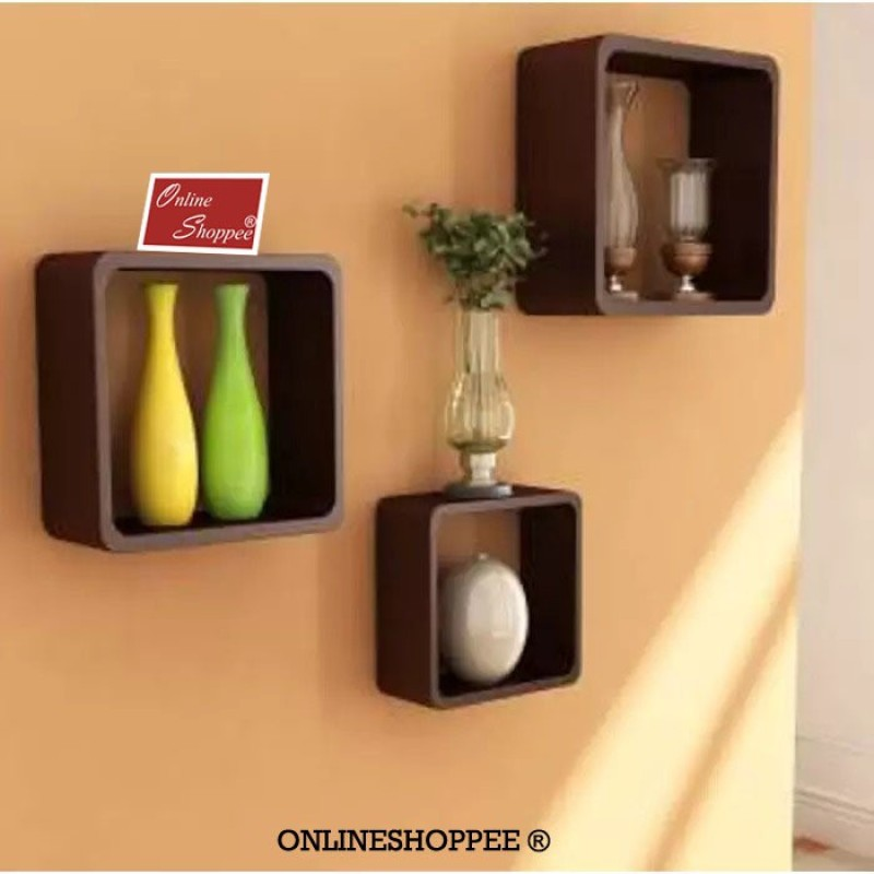 onlineshoppee-fancy-cube-wooden-wall-shelfnumber-of-shelves-3-brown