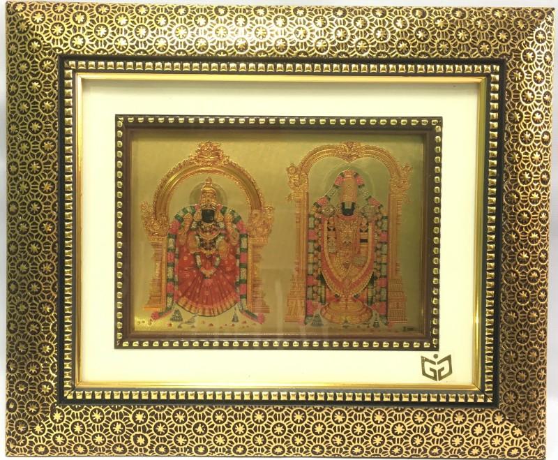 Gem Gold India 24kt Gold Plated Photo Frame of Lord Venkateswara with Goddess Padmavati in Antique Frame Religious Frame