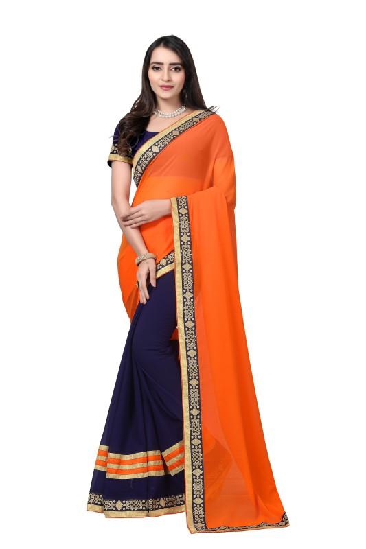 Aai shree khodiyar Solid, Self Design, Plain Banarasi Georgette Saree(Orange, Dark Blue)