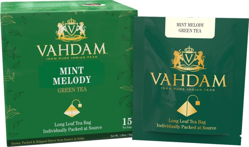 Vahdam Mint Green Tea, 15 Pyramid Tea Bags - Long Leaf Green Tea Leaves from Himalayas blended with 100% NATURAL Spearmint & Peppermint Leaves - Garden Fresh Mint Tea Mint Green Tea Bags(15 Bags, Box)