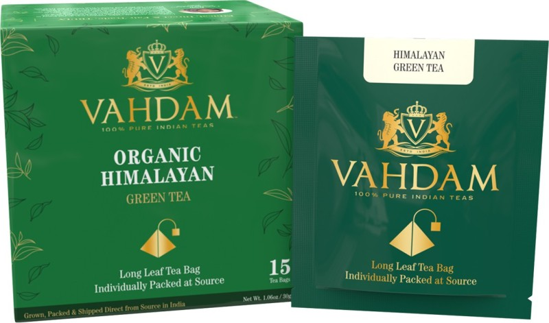 Vahdam Organic Green Tea Leaves from Himalayas 15 Tea Bags, 100% Natural Detox Tea, Weigh Loss Tea & Slimming Tea, RICH NATURAL IN ANTI-OXIDANTS, Worlds Finest Green Tea Loose Leaf, Packed at Source Unflavoured Green Tea Bags(15 Bags, Box)