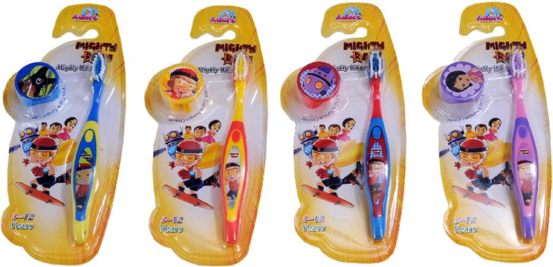 Mighty Raju Mighty Wham Toothbrush with Cap & Tongue Cleaner(Pack of 4)