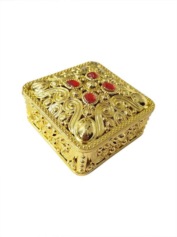 Fully Traditional Gold Finished Meenakari handcrafted heart design decorative box / Mukhvas box / Dry fruit box / Gift / wedding Container Vanity Box(Golden)