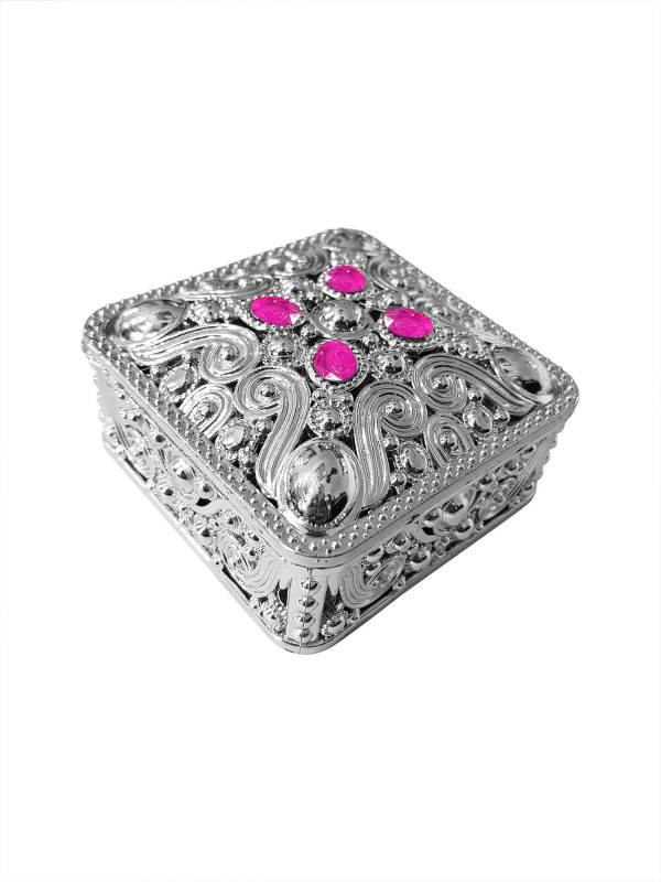 Fully Wedding Gifts for Bride | Plastics Jewellery Box | Return Birthday Gift | Sweet box for festivals Container Vanity Box(Silver)