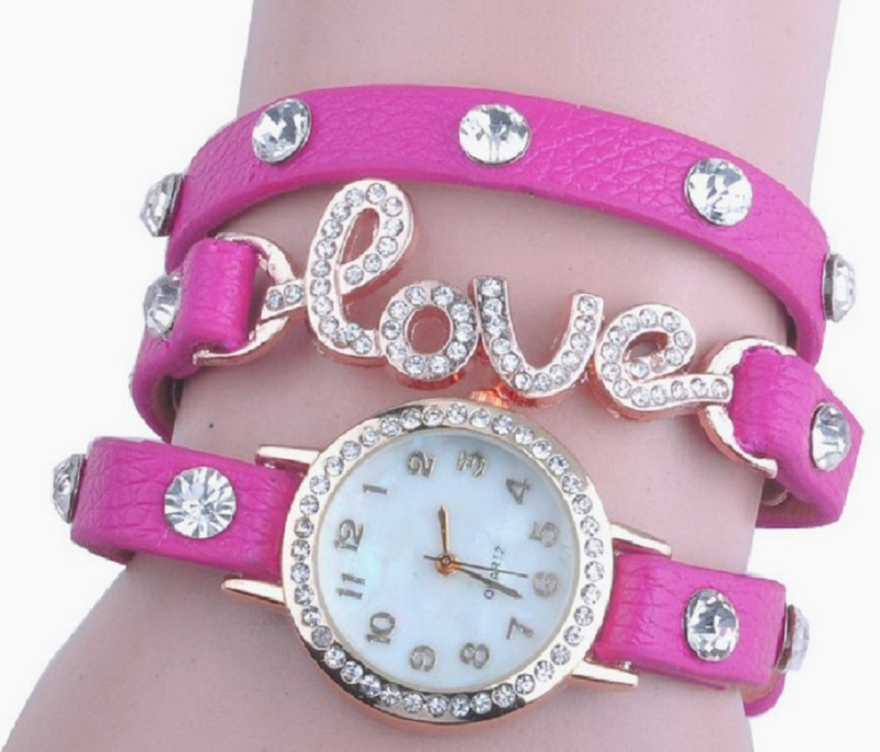 SOOMS beautiful Pink leather strap diamond studded love PENDENT EXCLUSIVE VALENTINE COLLECTION LADIES & WOMEN BRACELET Analog Watch - For Women