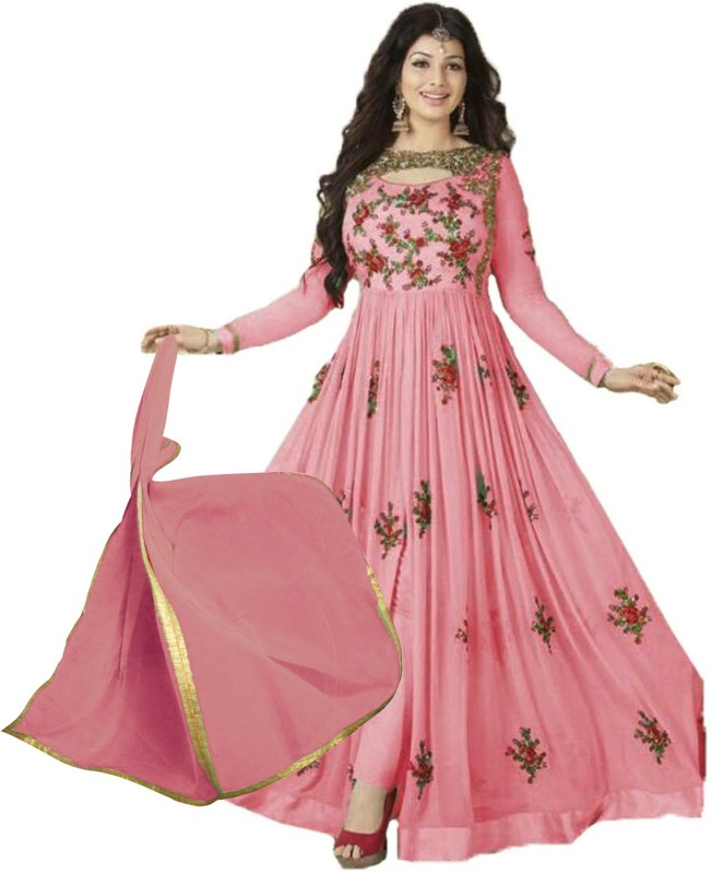 wommaniya impex Faux Georgette Embroidered Semi-stitched Salwar Suit Dupatta Material