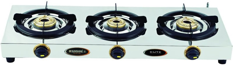 Sunshine Cute Stainless Steel Manual Gas Stove(3 Burners)