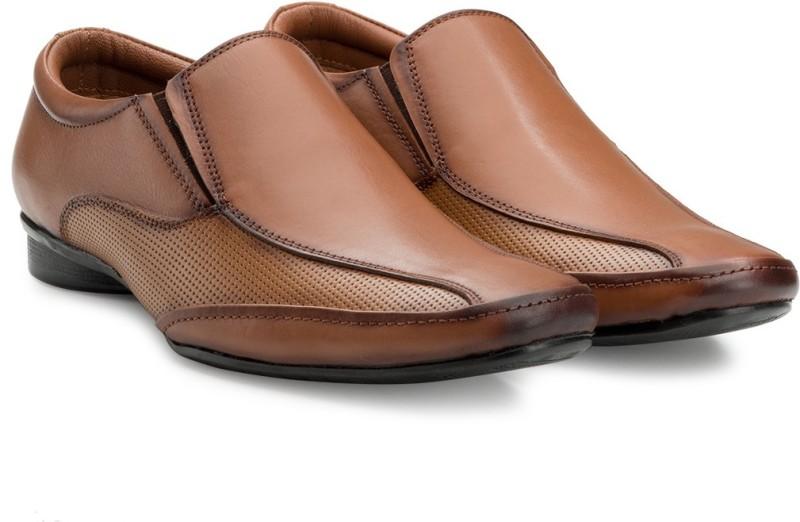 Escaro Mens Leather Formal Slip On For Men(Tan)