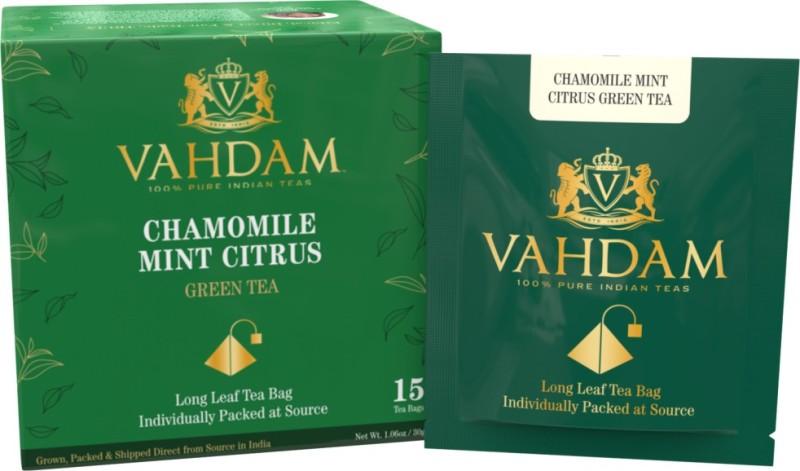 Vahdam Chamomile Mint Citrus Green Tea Leaves, 15 Tea Bags, Long Leaf Green Tea Bags, 100% Natural Detox Tea, Weight Loss Tea, Slimming Tea - Chamomile, Orange Peels, Peppermint, Spearmint Unflavoured Green Tea Bags(15 Bags, Box)