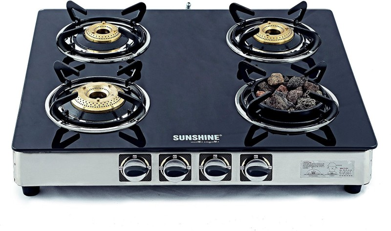 Sunshine Meethi Angeethi Stainless Steel, Glass Manual Gas Stove(4 Burners)