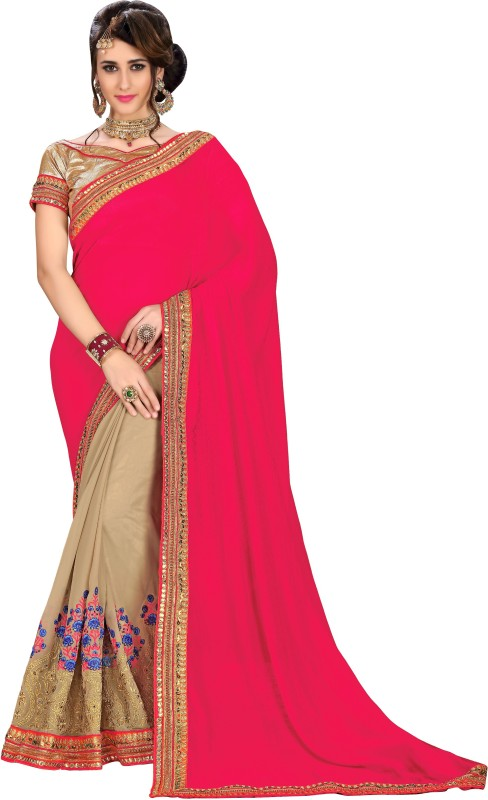 Rola Trendz Solid, Embroidered, Self Design Fashion Heavy Georgette, Jacquard Saree(Multicolor)