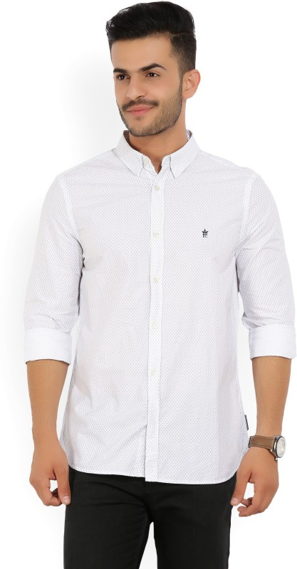 French Connection Mens Printed Casual White, Blue Shirt