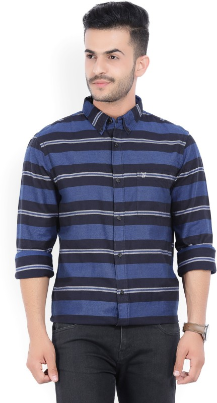 French Connection Mens Striped Casual Blue Shirt
