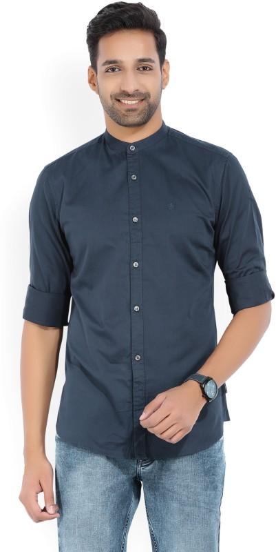 French Connection Mens Solid Casual Blue Shirt