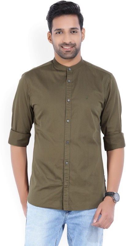 French Connection Mens Solid Casual Dark Green Shirt