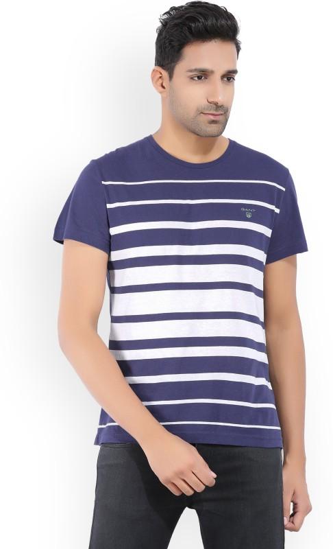 Gant Striped Mens Round Neck White, Blue T-Shirt