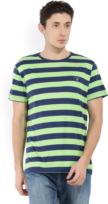 Gant Striped Mens Round Neck Blue, Green T-Shirt