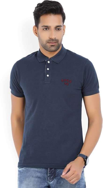 French Connection Solid Mens Polo Neck Dark Blue T-Shirt