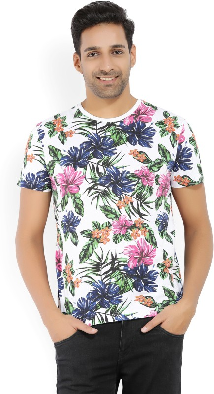Gant Printed Mens Round Neck White, Multicolor T-Shirt