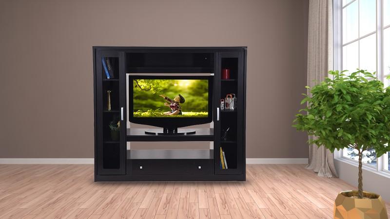 RoyalOak Geneva Engineered Wood TV Entertainment Unit(Finish Color - Dark)
