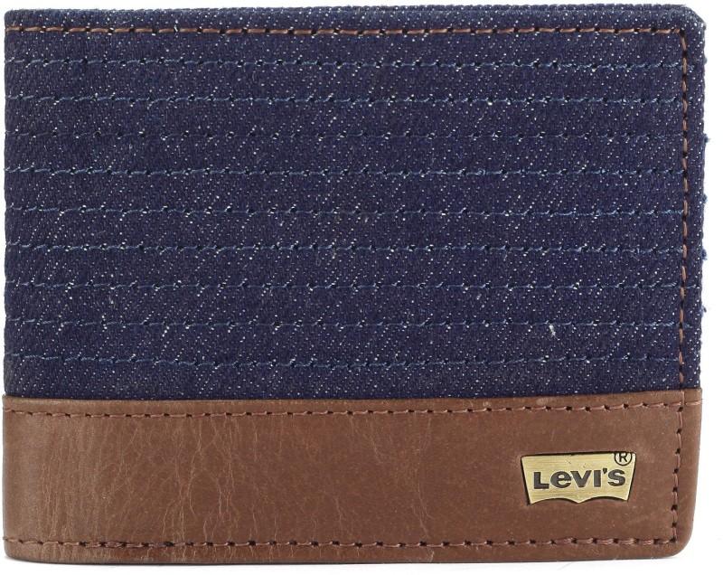 Levis Men Blue Genuine Leather, Denim Wallet(8 Card Slots)