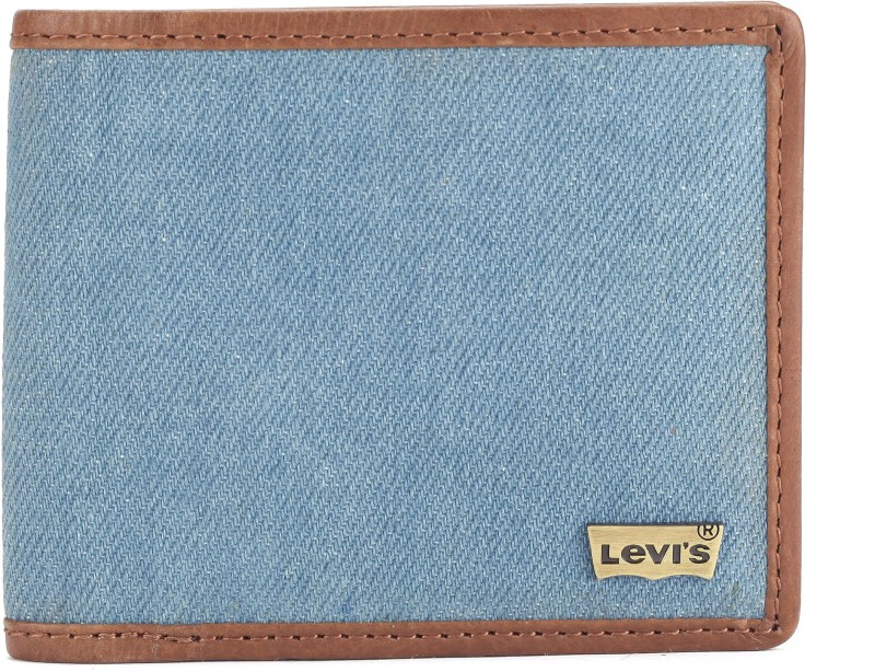 Levis Men Blue Genuine Leather, Denim Wallet(4 Card Slots)