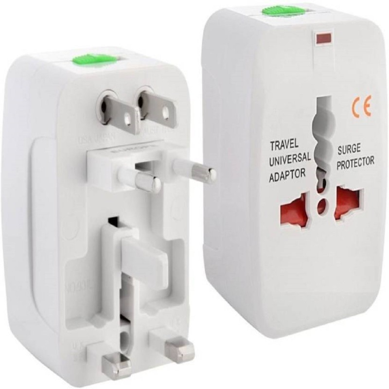 Animate Universal International Pocket Travel Charger Multi-Plug, AU/EU/UK/US/CN Worldwide Adaptor Worldwide Adaptor(White)